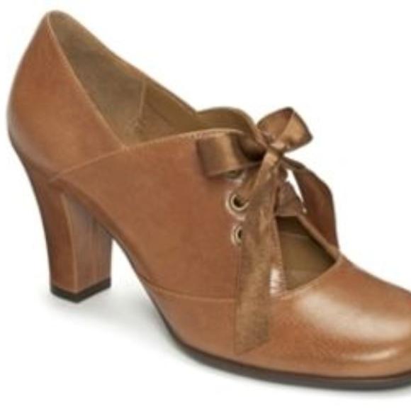 aa39899f1f AEROSOLES Shoes | Minor Role Tan Leather Ribbon Lace Heels | Poshmark